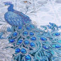 Diamond Painting pakket Pauw met strass - 30x40cm - ronde steentjes