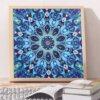 Diamond painting pakket Blauwe bloem 30x30cm