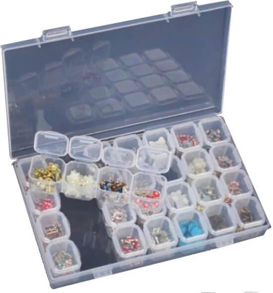 Gebruik een opbergbox om al je steentjes overzichtelijk op te bergen.