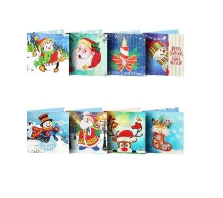 Diamond Painting pakket Kerstkaarten met Sneeuw- Set van 8 verschillende kaarten