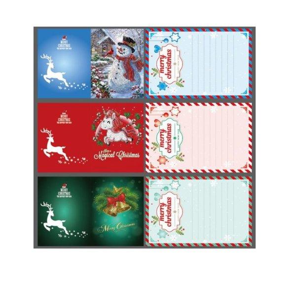 Diamond Painting pakket Kerstkaarten met Kerstboom - Set van 8 verschillende kaarten