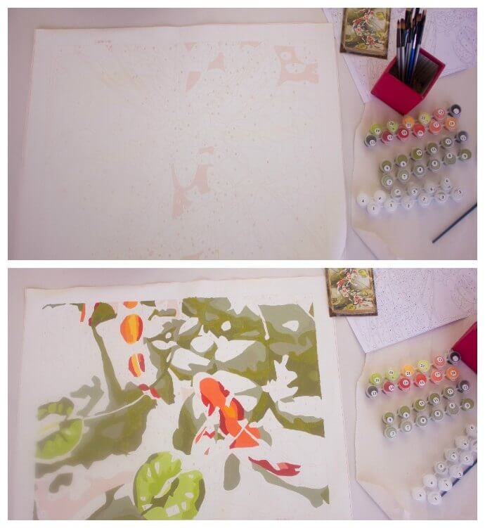 Een schilderen op nummer project in uitvoering!