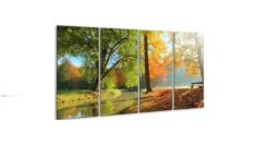 Glasschilderij Herfst park 4 luik - 160 x 80 cm