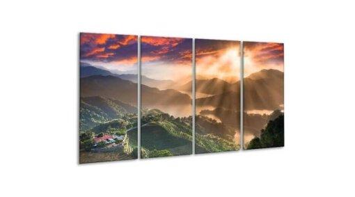 Glasschilderij Bergen met zonnestralen 4 luik 160 x 80 cm