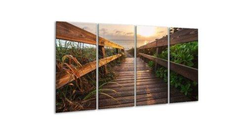 Glasschilderij Brug in de natuur 4 luik - 160 x 80 cm