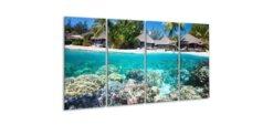 Glasschilderij Tropische vakantie aan zee 4-luik - 60 x 80 cm