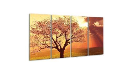 Glasschilderij Bloesem boom 4 luik - 160 x 80 cm