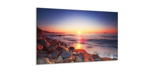 Glasschilderij Zonsondergang aan zee - 120 x 70 cm