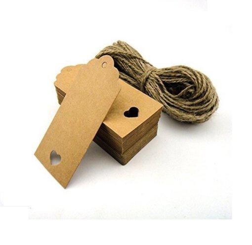 Kartonnen cadeaulabels met touw - 100 stuks