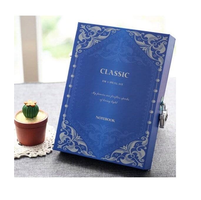 Dagboek met cijfer slot - blauw