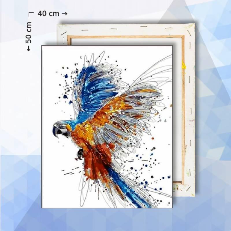 Schilderen Op Nummer pakket Blauw-gele Ara Papegaai - 40 x 50 cm - met frame