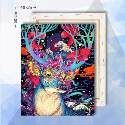 Schilderen Op Nummer pakket Fantasie Hert - 40 x 50 cm - met frame