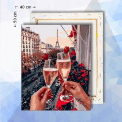 Schilderen Op Nummer pakket Champagne in Parijs - 40 x 50 cm - met frame