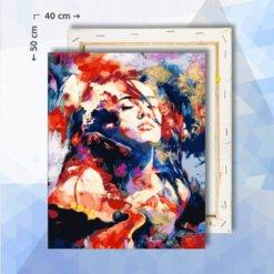Schilderen Op Nummer pakket Abstracte Vrouw Rood/Blauw - 40 x 50 cm - met frame
