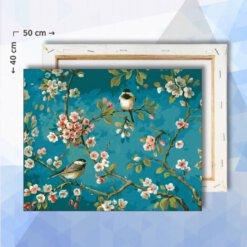 Schilderen op nummer pakket Vogels op bloesem - 40 x 50 cm - met frame