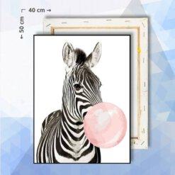 Schilderen Op Nummer pakket Zebra met kouwgombubbel - 40 x 50 cm - met frame