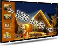 Projectiescherm voor beamer - 120 inch - Opvouwbaar - Beamer scherm - Projectie doek