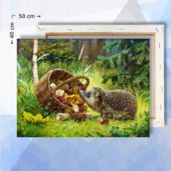 Schilderen op nummer pakket Egel in het bos - 40 x 50 cm - met frame