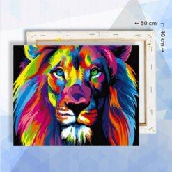 Schilderen op nummer pakket Kleurrijke Leeuw - 40 x 50 cm - met frame