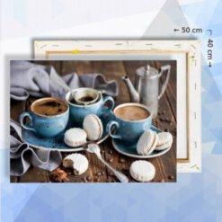Schilderen op nummer pakket Koffie en koekjes 40 x 50 cm - met frame
