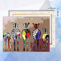 Schilderen op nummer pakket Abstracte kleurige zebras - 50 x 40 cm - met frame