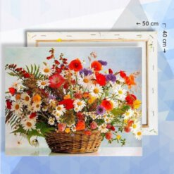 Schilderen op nummer pakket Veldbloemen in mand - 40 x 50 cm - met frame