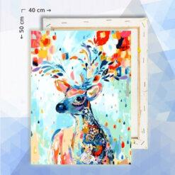Schilderen op nummer pakket Hert met bloemen - 40 x 50 cm - met frame