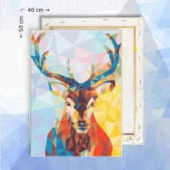 Schilderen op nummer pakket Vlakken Hert - 40 x 50 cm - met frame