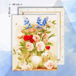 Schilderen Op Nummer Pakket Bloemen stilleven - 40 x 50 cm - met frame