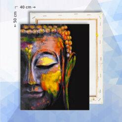 Schilderen Op Nummer Pakket Buddha Gezicht Half - 40 x 50 cm - met frame