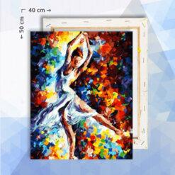 Schilderen Op Nummer Pakket Ballerina gekleurd - 40 x 50 cm - met frame