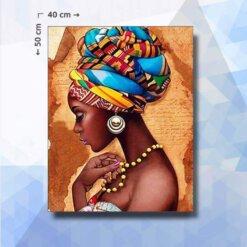 Diamond Painting pakket Afrikaanse Vrouw - vierkante steentjes - 40 x 50 cm