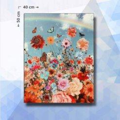 Diamond Painting pakket Bloemen en Vlinders - vierkante steentjes - 40 x 50 cm