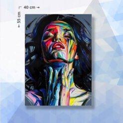Diamond Painting Pakket Abstract Portret Vrouw - 55 x 40 cm - vierkante steentjes