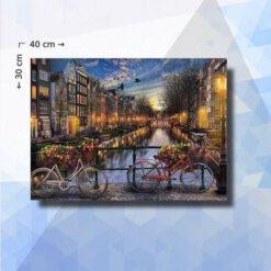 Diamond Painting pakket Amsterdamse grachten - 30x40 cm - vierkante steentjes