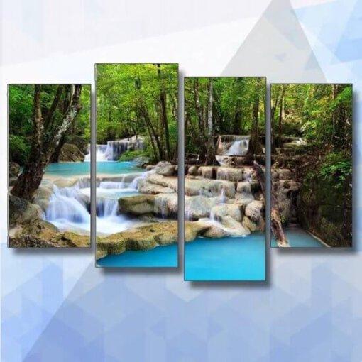 Diamond Painting pakket Beekje met Watervallen 5 luik - 100x55 cm - vierkante steentjes