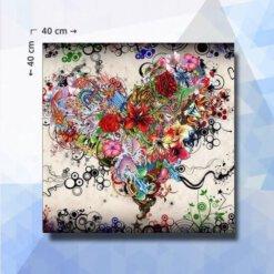Diamond Painting pakket Bloemen Hart - 40x40 cm - vierkante steentjes