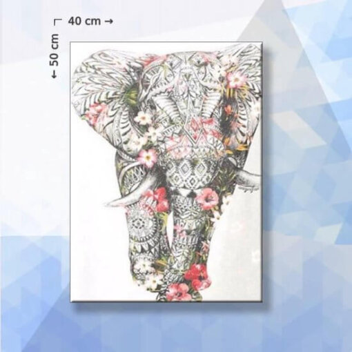 Diamond Painting pakket Bloemen Olifant - 40 x 50 cm - vierkante steentjes