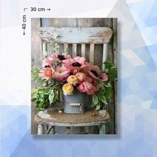 Diamond Painting pakket Bloemen op stoel - 30 x 40 cm - vierkante steentjes