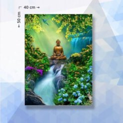 Diamond Painting pakket Boeddha in het bos - 40 x 50 cm - vierkante steentjes
