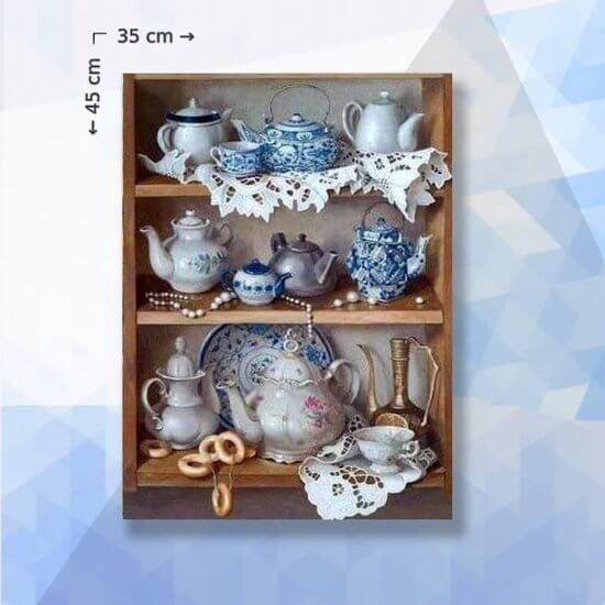 Diamond Painting Pakket Delfts Blauwe Theepot - vierkante steentjes - 35 x 45 cm