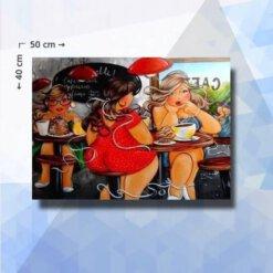 Diamond Painting pakket Dikke dames in cafe - 50x40cm - ronde steentjes