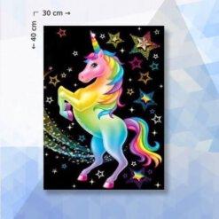 Diamond Painting pakket Eenhoorn met sterren - Unicorn - 30x40 cm - ronde steentjes