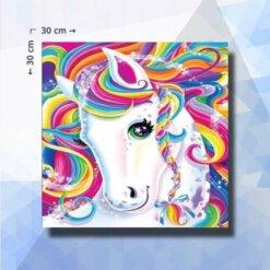 Diamond Painting pakket Eenhoorn voor Kinderen - Unicorn - 30x30cm - ronde steentjes