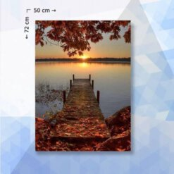 Diamond Painting pakket Herfst meer - 72 x 50 - vierkante steentjes