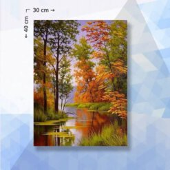 Diamond Painting Pakket Herfstbos met rivier - vierkante steentjes - 40 x 30 cm