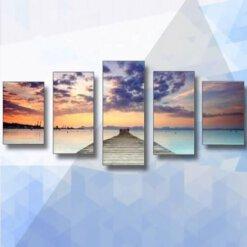 Diamond Painting pakket Horizon 5-luik - 40x75cm - ronde steentjes
