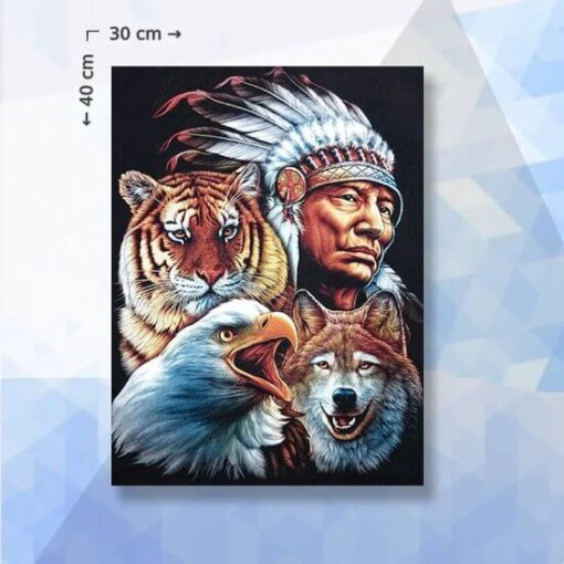 Diamond Painting pakket Indiaan, Adelaar, Tijger en Wolf - 30x40 cm - vierkante steentjes