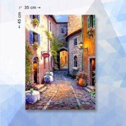 Diamond Painting pakket Italiaans Café met bloemen - 35 x 45 cm - vierkante steentjes