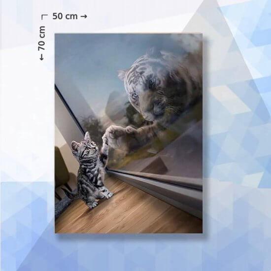 Diamond Painting Pakket Kitten droomt over tijger - 70 x 50 cm